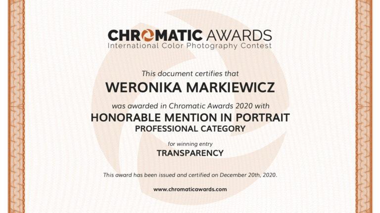 Wyróżnienie w międzynarodowym konkursie Chromatic Awards 2020!