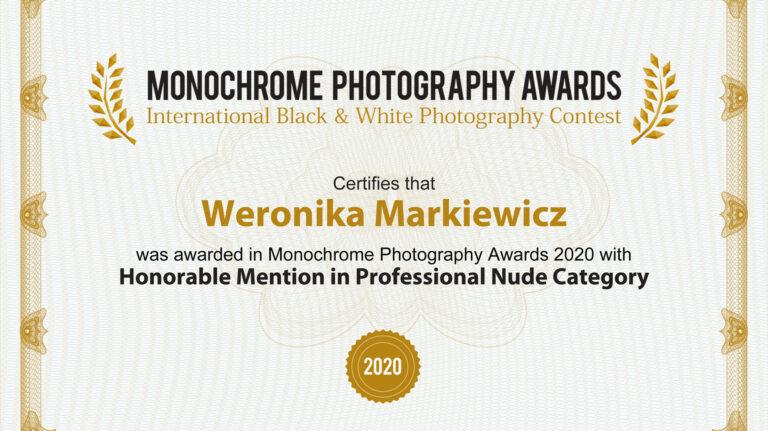 Wyróżnienie w międzynarodowym konkursie Monochrome Awards 2020
